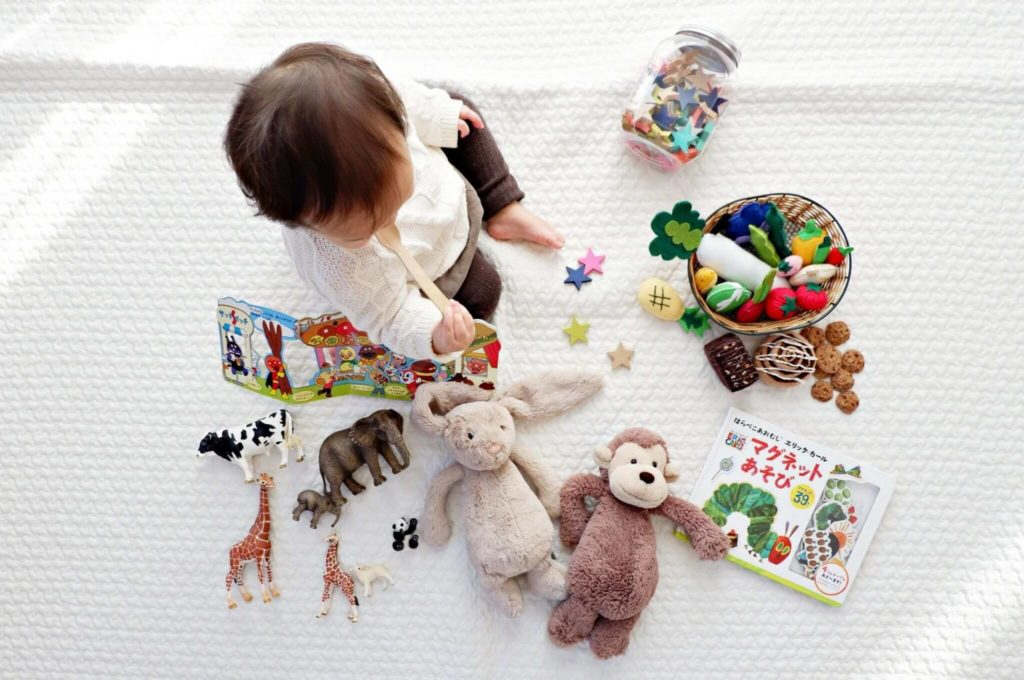Free some space in the playroom by giving away some playthings your child doesn't use to play with anymore.